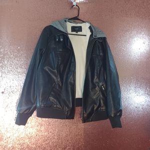 Torrid black leather hooded jacket size 2X